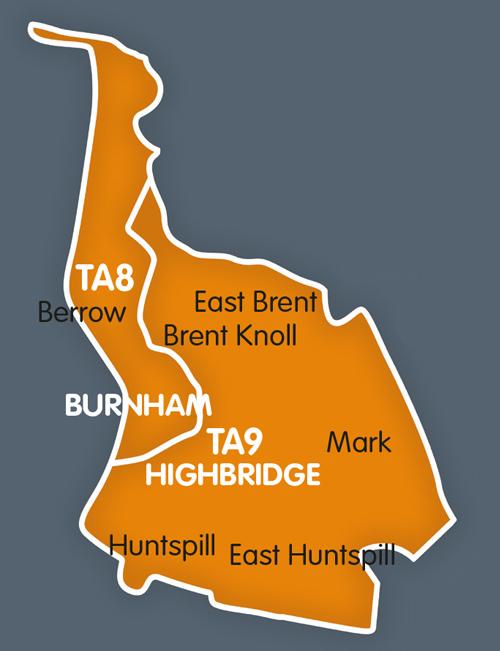 Burnham-on-Sea, Berrow, Brent Knoll, Huntspill, Highbridge distribution map