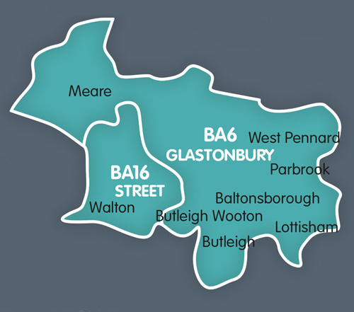 Street, Glastonbury distribution map