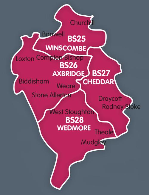 Wedmore, Cheddar, Axbridge, Winscombe distribution map